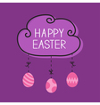 Happy Easter Cloud frame Hanging painted eggs Dash vector image vector image