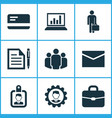 job icons set collection of diagram contract id vector image vector image