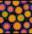 juicy bright pattern oranges on a black vector image