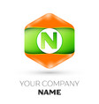 letter n logo in the colorful hexagonal vector image vector image