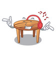 listening music cartoon wooden dining table in vector image