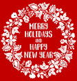 merry holidays and happy new year red and white vector image vector image