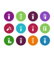 Microbiology equipment test tube circle icons on vector image vector image
