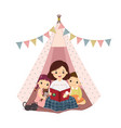 mother reading book with son and daughter vector image vector image