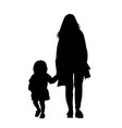 mother with daughter silhouettes vector image