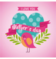 mothers day love you card dotted heart bird vector image vector image