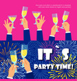 party banners set with fireworks and champagne vector image