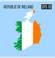 republic of ireland map border with flag eps10 vector image