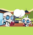 robots housekeepers using smart home system vector image