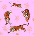 seamless pattern several beautiful tiger vector image vector image