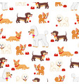 seamless pattern with different kind of dogs vector image vector image