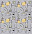 set of food items doodle icons vector image