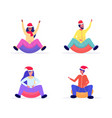 set people in santa hats sledding on snow rubber vector image vector image