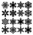 Set snowflakes icons on white background