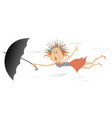 strong wind young woman and umbrella isolated ill vector image vector image