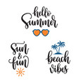 summer phrases hand lettering vector image vector image