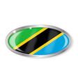 tanzania flag oval button vector image vector image