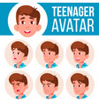 teen boy avatar set face emotions user vector image