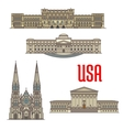 US Architecture and cathedral landmarks vector image vector image