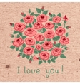 Vintage card with a bouquet of roses vector image