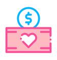 volunteers support money box thin line icon vector image