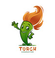waving torch character mascot with flaming head vector image vector image