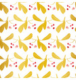 white and gold pattern with leaf vector image vector image