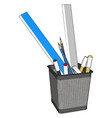 wire pen cup with rulers and several pens and vector image