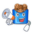 with megaphone cartoon fried falafel is ready eat vector image