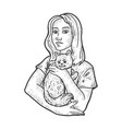 woman with pet cat sketch vector image vector image