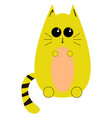yellow cute cat on white background vector image vector image