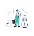young happy male employee with equipment looking vector image vector image