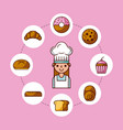 baker girl character with bread cake cupcake donut vector image