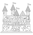 Fairytale royal thin line castle or palace vector image