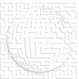 Abstract globe with maze on maze background with vector image
