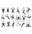 aerial yoga icons depict a woman performing anti vector image vector image