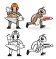 Ant profession builder and waiter vector image vector image