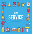 auto service with text concept thin line icons vector image