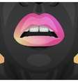 Beauty Woman with pink and yellow glossy Lips vector image vector image