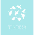 birds silhouette set Blue postcard with birds and vector image