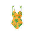 bright orange swimsuit with palm leaves pattern vector image vector image