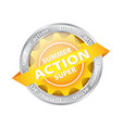 bright sun button tag with summer supper action vector image vector image