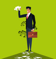 business man with of puzzle pieces vector image vector image