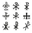 christian symbols icons set vector image vector image