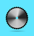 circular saw blade on blue background vector image vector image