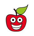color red kawaii fruit apple happy icon vector image vector image