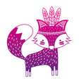 color silhouette cute fox animal with feathers vector image