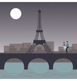 Couple bicycle in paris with eiffel tower romantic vector image