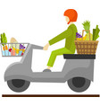 courier delivering food on scooter image vector image vector image