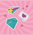 diamond star and heart love patch fashion badge vector image
